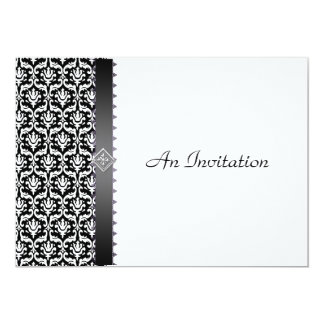Evening Wedding Reception Black & White Damask Card
