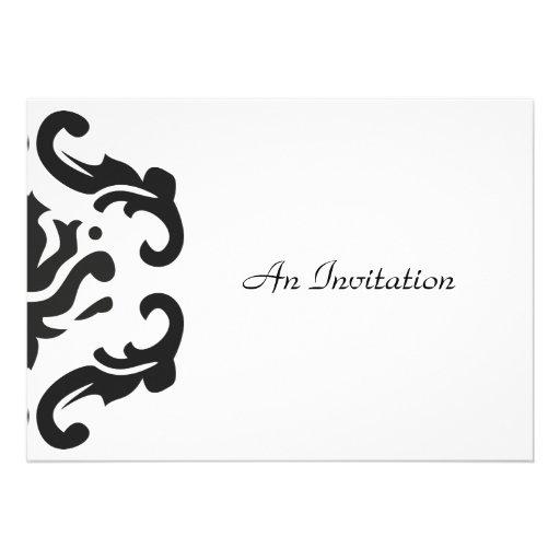 Evening Wedding Reception Black & White Damask Announcement