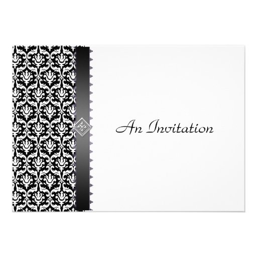 Evening Wedding Reception Black & White Damask Personalized Invite