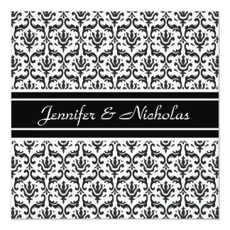 Evening Wedding Recption Black & White Damask 13 Cm X 13 Cm Square Invitation Card