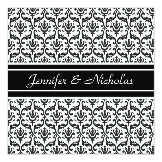 Evening Wedding Recption Black & White Damask Card