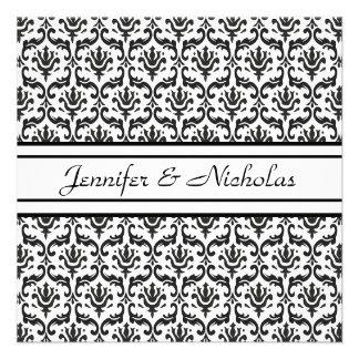 Evening Wedding Recption Black White Damask Custom Invitation