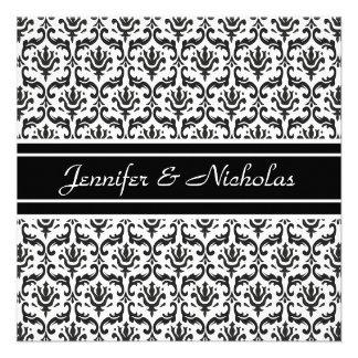 Evening Wedding Recption Black & White Damask Invite