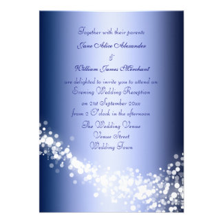 Evening Wedding Recption Winter Blue Sparkles Personalized Invitations