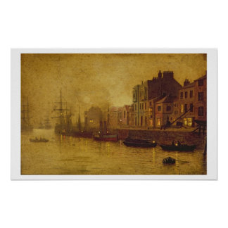 Evening Whitby Harbour 1893 oil on board Print
