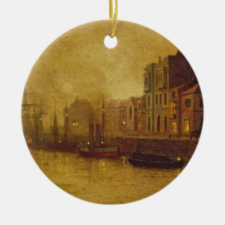 Evening, Whitby Harbour, 1893 (oil on board) Round Ceramic Decoration