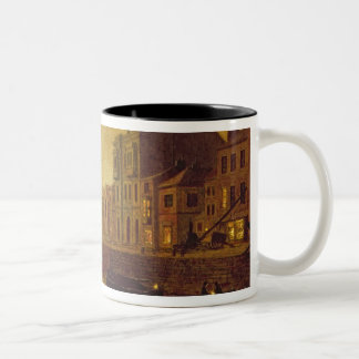 Evening, Whitby Harbour, 1893 (oil on board) Two-Tone Coffee Mug