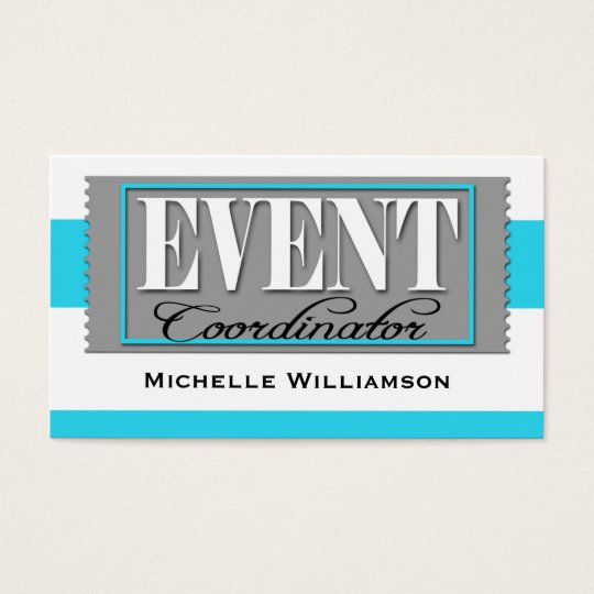 Event Coordinator Ticket Aqua Blue Business Cards