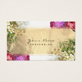 Event Floral Red Peony Pink Green Gold White Business Card