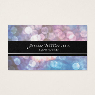 Event Planner bokeh, sparkle, trendy Business Card