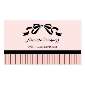 Event Planner Chic Parisian Pink Pinstripes Bow Pack Of Standard Business Cards