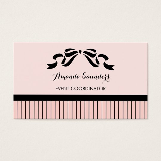 Event Planner Chic Parisian Pink Pinstripes Bow Business