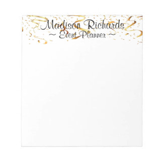 Event Planner Faux Gold Confetti Ribbons Notepad