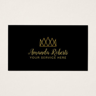 Event Planner Gold Geometric Crown Modern Black Business Card
