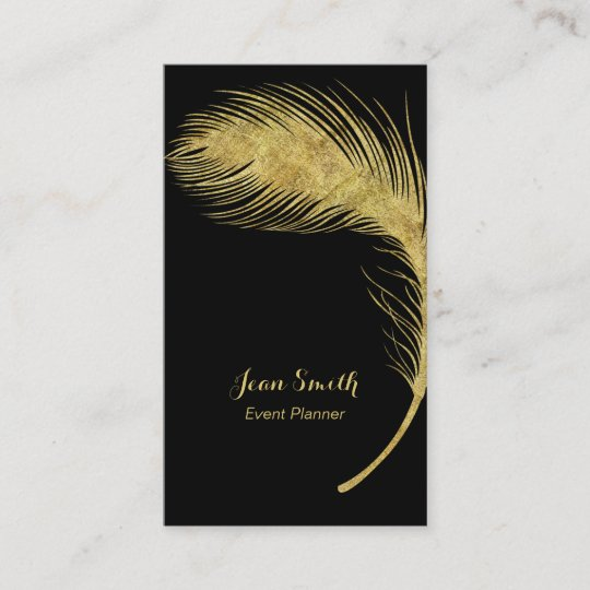 Event planner luxury gold peacock feather elegant business card event planner luxury gold peacock feather elegant business card reheart Images