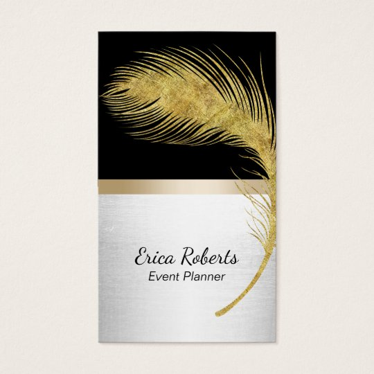 Event Planner Peacock Feather Modern Black & Gold Business Card
