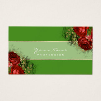 Event Planner Red Roses Green Greenery Gold Business Card