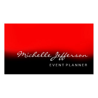 Event Planner Script Red Black Business Card
