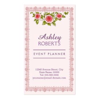 Event Planner Vintage Elegant Pink Red Roses Frame Pack Of Standard Business Cards