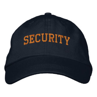 Event Security Orange on Black Embroidered Cap