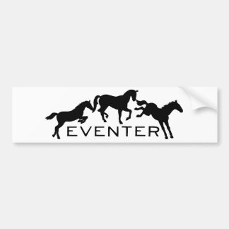 Eventer with Three Jumping Horses Bumper Sticker