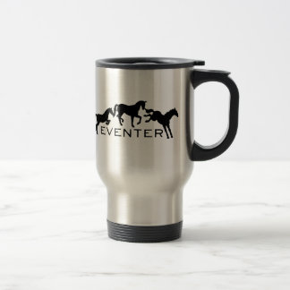Eventer with Three Jumping Horses Travel Mug