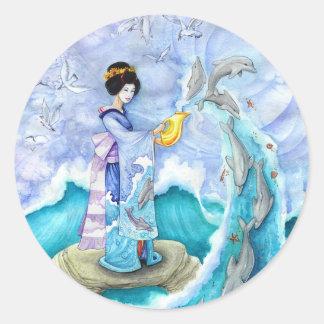Eventide Sticker, Large, Geisha Dolphin Art Round Sticker