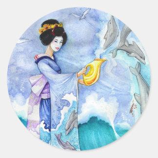 Eventide Sticker, Small, Geisha Dolphin Art Round Sticker