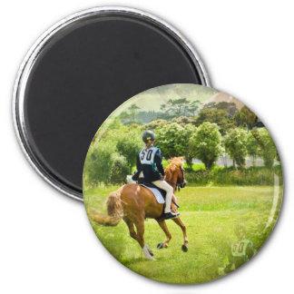 Eventing Horse Round Button 6 Cm Round Magnet