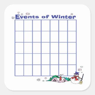 Events Of Winter Calender Square Sticker