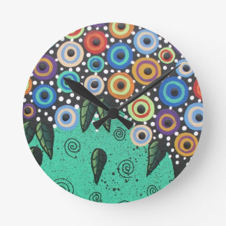 Everett_ Day Of The Dead, Bird Art, Funny, Cute Round Clock