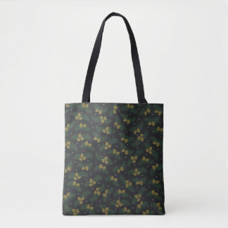 evergreen Acorn country winter tote bag