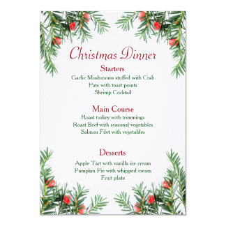 Evergreen and Red Berries Christmas Menu Card