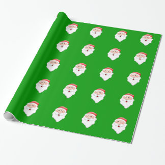 Evergreen Background Happy Santa Claus Gift Wrapping Paper