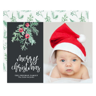 Evergreen Christmas Holiday Photo Card in Slate