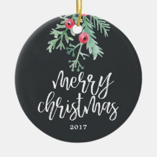 Evergreen Christmas Holiday Photo Ornament Slate