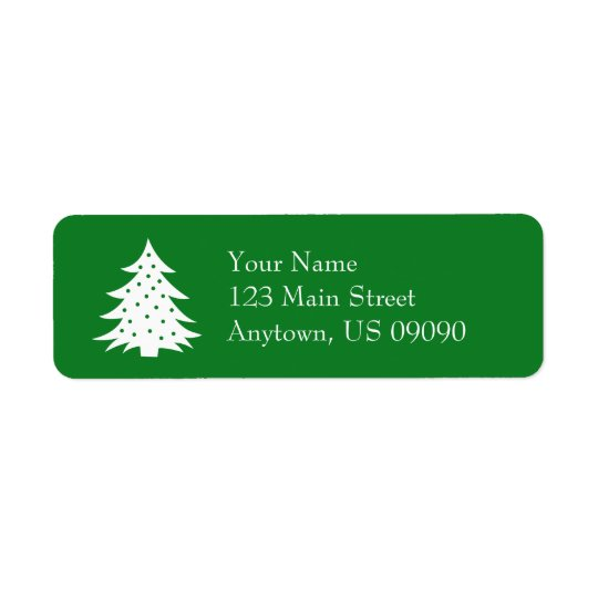 Evergreen Christmas Tree Address Labels (Green)