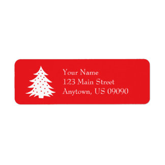 Evergreen Christmas Tree Address Labels (Red)