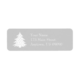Evergreen Christmas Tree Address Labels (Silver)