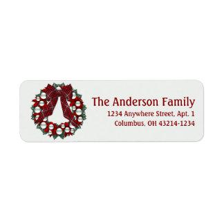 Evergreen Christmas Wreath Return Address Label 4