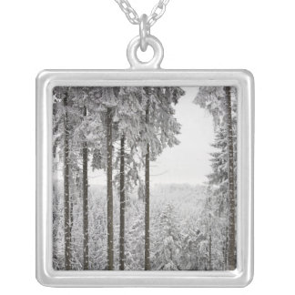 Evergreen forest in winter silver plated necklace