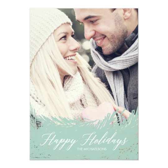 Evergreen Frost Christmas Photo Card