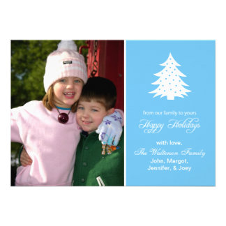 Evergreen Tree Card (Happy Holidays Sky Blue) Personalized Announcements