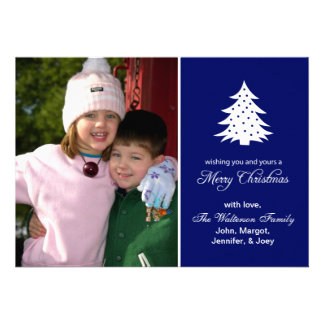 Evergreen Tree Card (Merry Christmas Navy Blue) Announcements