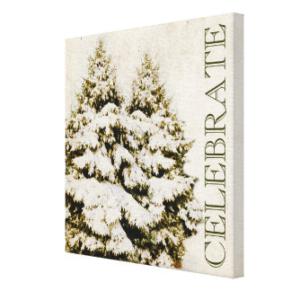 Evergreen Trees Christmas Celebrate Gallery Wrapped Canvas