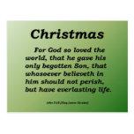 Everlasting Life Christmas John 3-16 Postcard