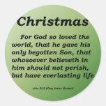 Everlasting Life Christmas John 3-16 Round Sticker