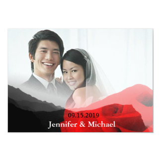 Everlasting Love Mountains Red Rose Wedding Photo Card