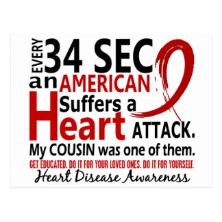 Every 34 Seconds Cousin Heart Disease Attack Postcard