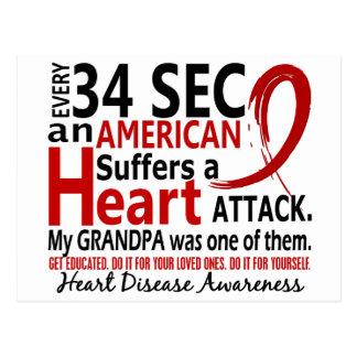Every 34 Seconds Grandpa Heart Disease Attack Post Card